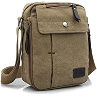 Goatter Canvas and Leather Khaki Multi-Compartment Messenger Bag for Men and Women (Khaki, Small)