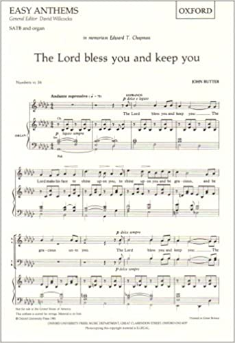 The Lord bless you and keep you: SATB vocal score Oxford easy ...