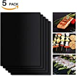 Ingleby BBQ Grill Mat Set of 5, Non-Stick BBQ Grill & Baking Mats, PFOA Free, Reusable and Easy to Clean, BBQ Accessories for Gas, Charcoal, Electric Grill and More (Black)