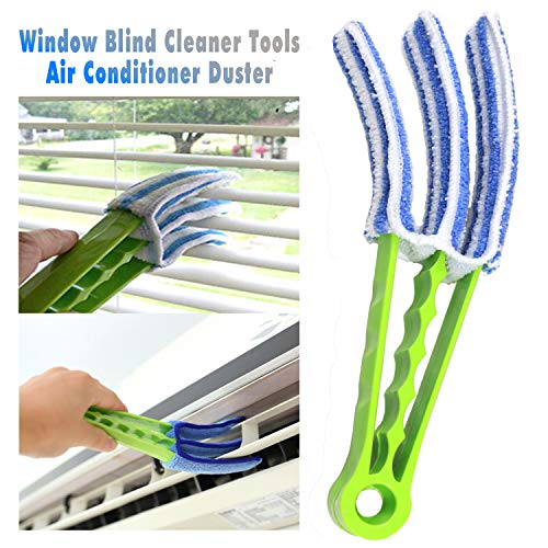 FO&OSOBEIT Window Blinds Cleaner Duster Brush - 5 Microfiber Sleeves Blinds Cleaner Tools for Window Blinds Air Conditioner Jalousie Duster(Green)