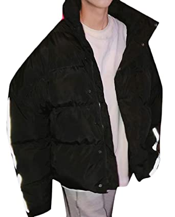 XQS Mens Loose Fit Zipper Fashion with Hood Thicken Quilted Down Jacket Coat