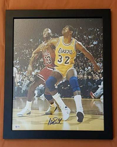 Magic Johnson Autographed Signed Memorabilia And Framed 16x20 Photo Michael Jordan Bas
