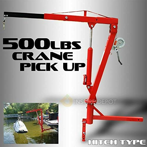 Safe and Easy, Swivels 360° for Versatility, Hydraulic Receiver Hitch Mounted Crane Portable Pickup Truck Lift Adjustable Leg