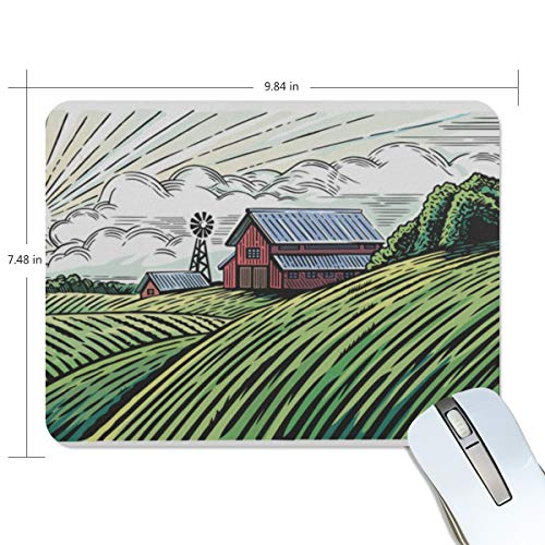 Mouse Pad Rural-Landscape-Farm-Engraving-Style-Painted Customized Rectangle Non-Slip Rubber Mousepad Gaming Mouse Pad Mat -