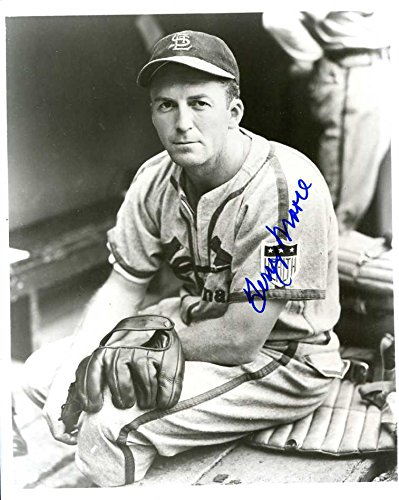 (Terry Moore (D.'95) Autographed /Original Signed 8x10 B&W Photo Showing Him w/ the St. Louis Cardinals)
