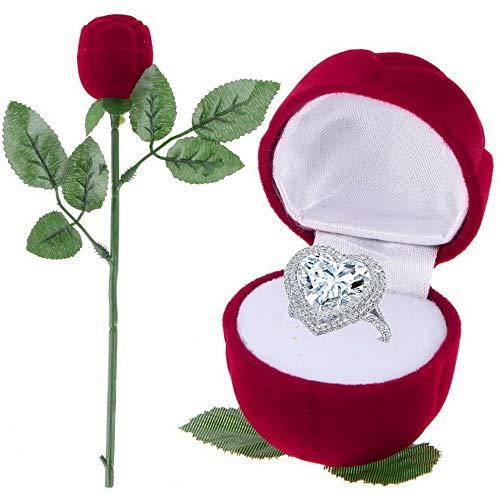 Mikash New Red Velvet Rose Engagement Wedding Earring Ring Pendant Box Jewelry Display | Model JWRLBX - 347 | - Pendant Monogrammed Oval