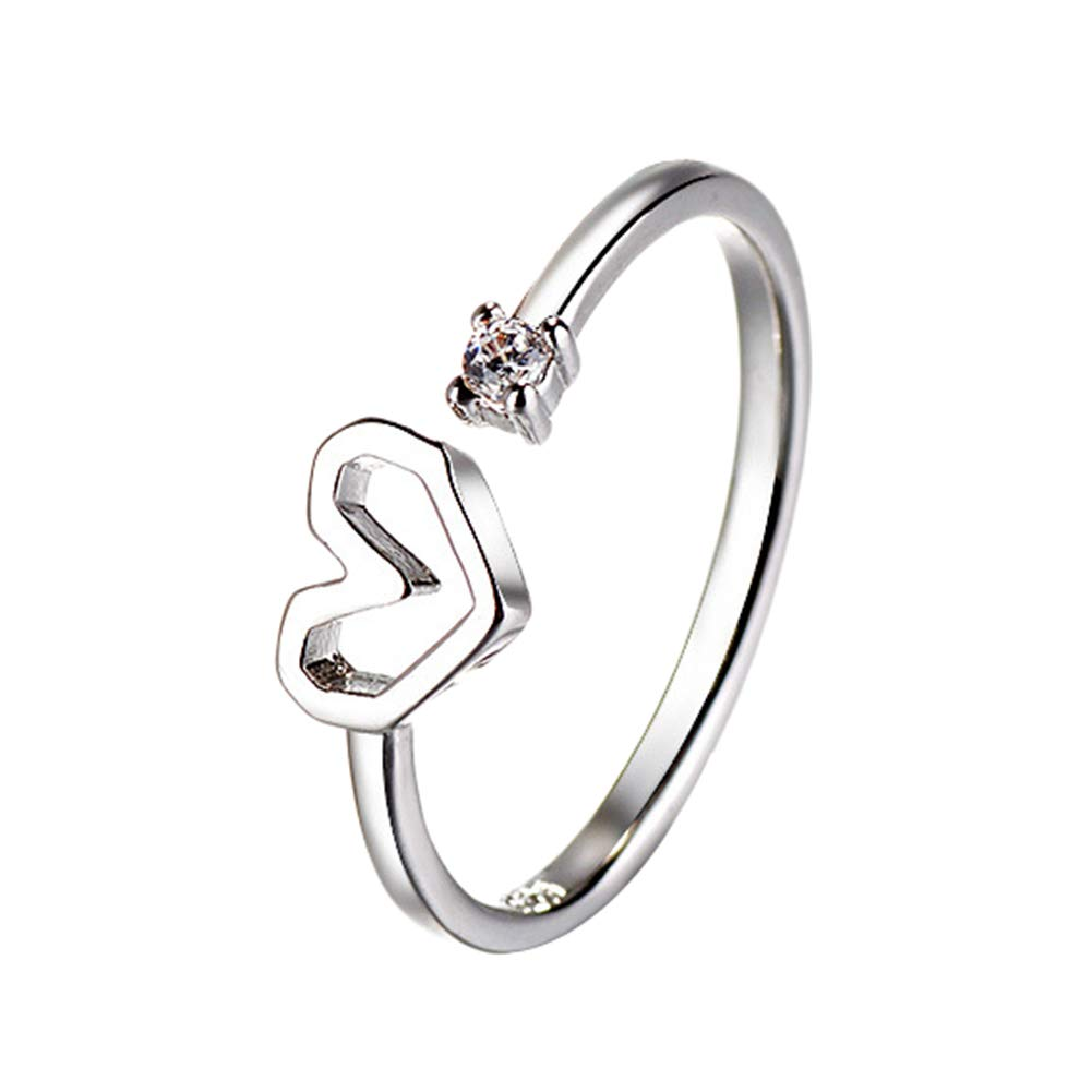 Yodio Heart Shaped Silver Copper Dia 16mm Rings