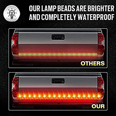 JUNEVEN 60 Inches Tailgate Light Bar Double Row LED Light Strip Brake Running Turn Signal Reverse Tail Lights for Trucks Trailer Pickup Car RV Van Jeep Towing Vehicle,Red White,No Drill: Automotive