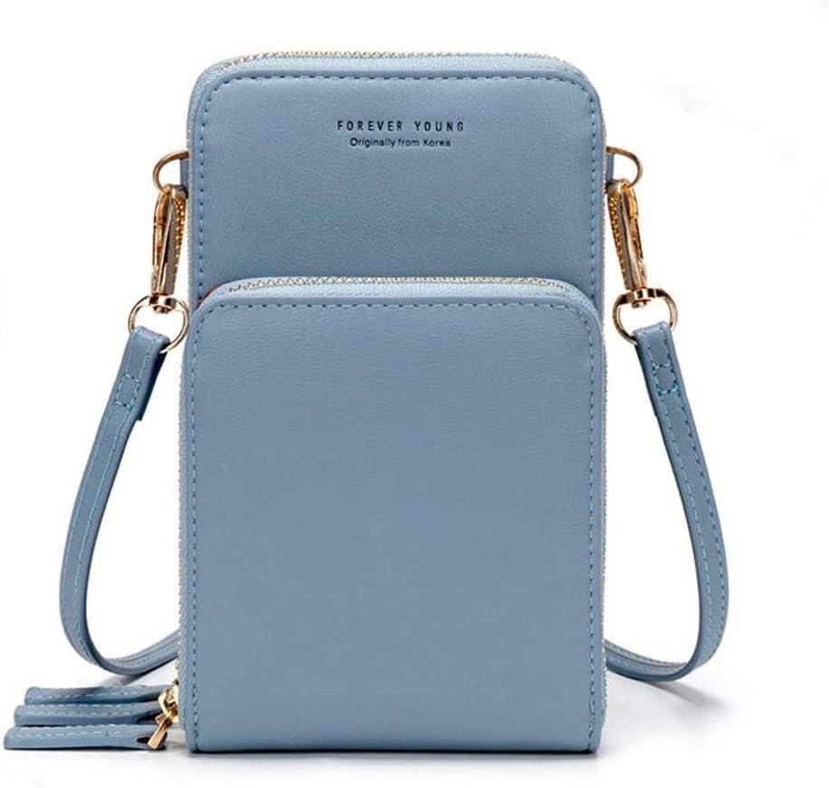 Bolso de teléfono móvil para mujer Monedero de cartera cruzada Mini bolso de teléfono celular cruzado de cuero ligero con ranuras para tarjeta de correa(Azul claro)