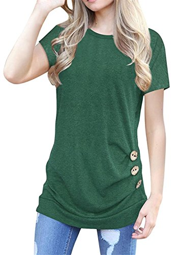 Guandiif Women's Casual Short Sleeve Round Neck Loose Tunic Tops Blouse Button Decor Shirts Green L -