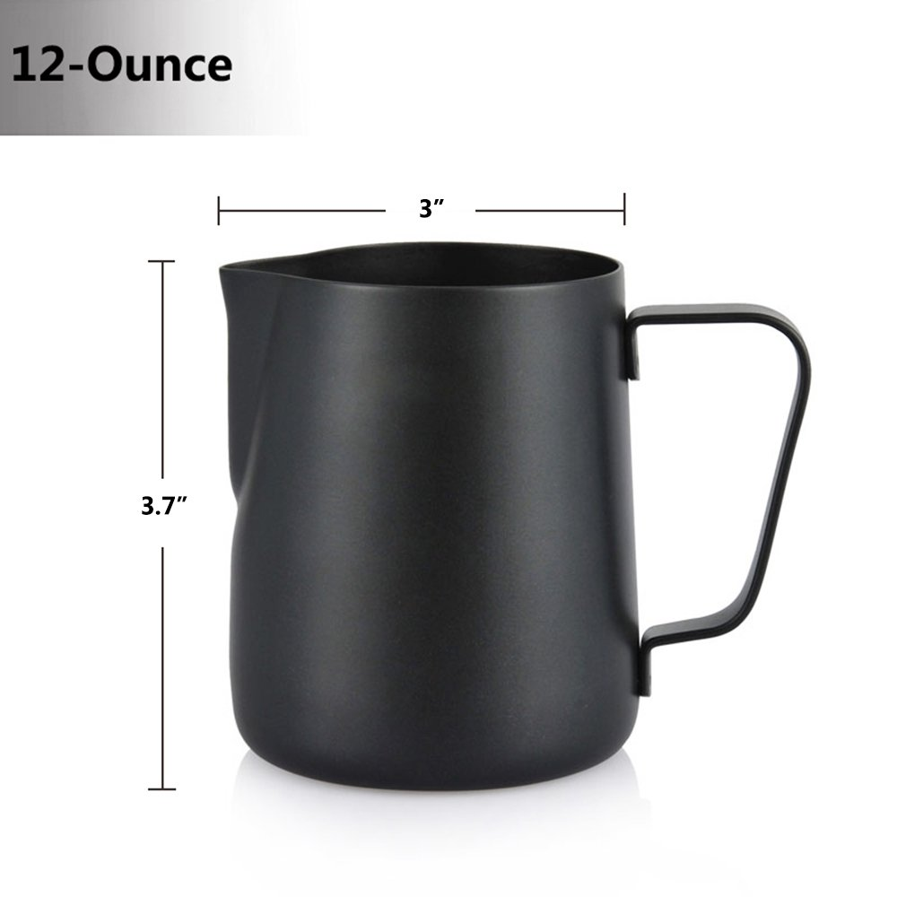 Espresso Coffee Milk Frothing Pitcher,WeHome Stainless Steel Creamer Macchiato Cappuccino Latte Art Making Pitcher Cups Perfect Christmas Gift for Your Family and Friends,12 oz/350ML by WeHome (Image #8)
