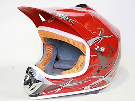 Casco Moto Cross Infantil para Niños (M, Rojo)