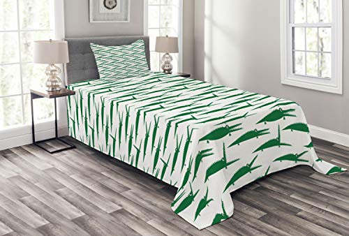 (Ambesonne Crocodile Bedspread, Funny Green Alligator Animals in Cartoon Style Zoo Reptile Biting Characters, Decorative Quilted 2 Piece Coverlet Set with Pillow Sham, Twin Size, Green and White)