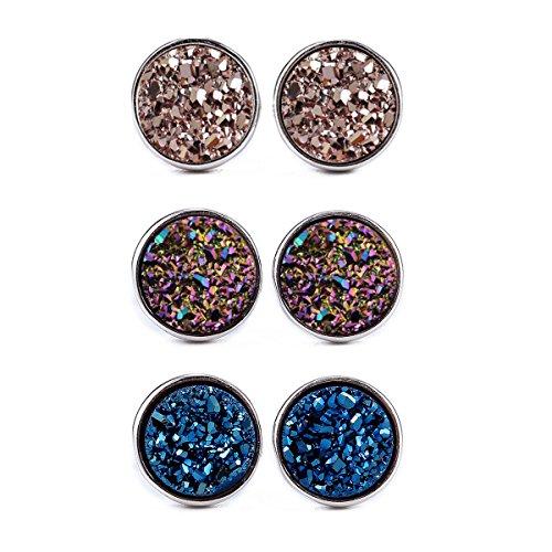 - Dolovely Stainless Steel Resin Stud Earrings Set for Girls Women Hypoallergenic Pierced Earrings