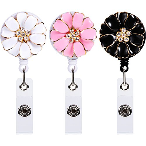 Boao 3 Pieces Rhinestones Retractable Badge Holder, ID/Name Badge Reel Alligator Clip with Camellia, Easy to Wear