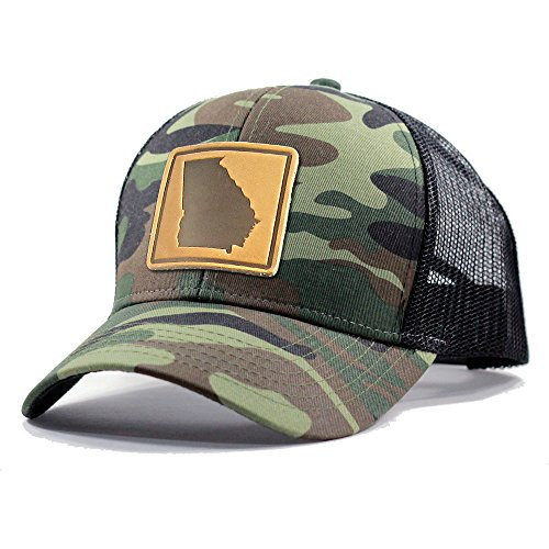 - Homeland Tees Men's Georgia Leather Patch Army Camo Trucker Hat - Army Camo