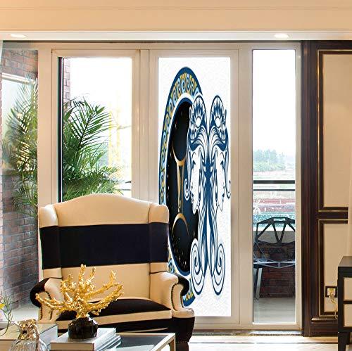 (YOLIYANA Non Adhesive Window Film,Zodiac Decor,for Window Moving Glass Door,Gemini Icon Motif with Back to Back Women,24''x78'' )