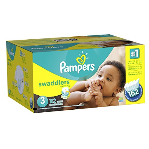 Pampers Swaddlers Diapers Size 3 Economy Pack Plus, 162 Count (Packaging May Vary)