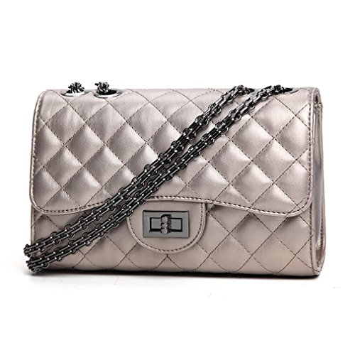 Metal Silver Handbag Crossbody Quilted Medium Marchome Chain Shoulder Leather Soft Classic Woman for Pu qfCnRwx7a
