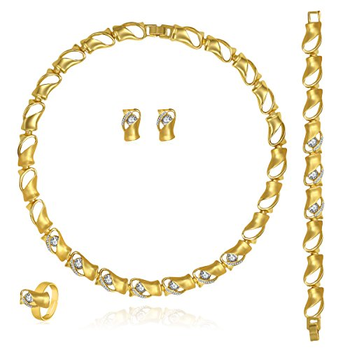 MOOCHI 18K Gold Plated Twisted Connected Rhinestone Embedded Pendant Necklace Earrings Jewelry (18k Twisted Necklace)