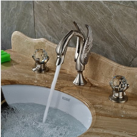 GOWE 3 PCS Nickel Brushed Bathroom Swan Faucet Crytal Handles Vanity Sink Mixer Tap 3