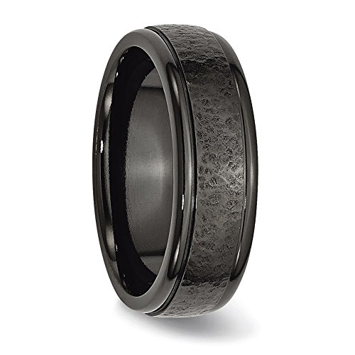 Chisel Titanium Black TI Hammered Ridged Edge 7mm Brushed Band Ring TB286