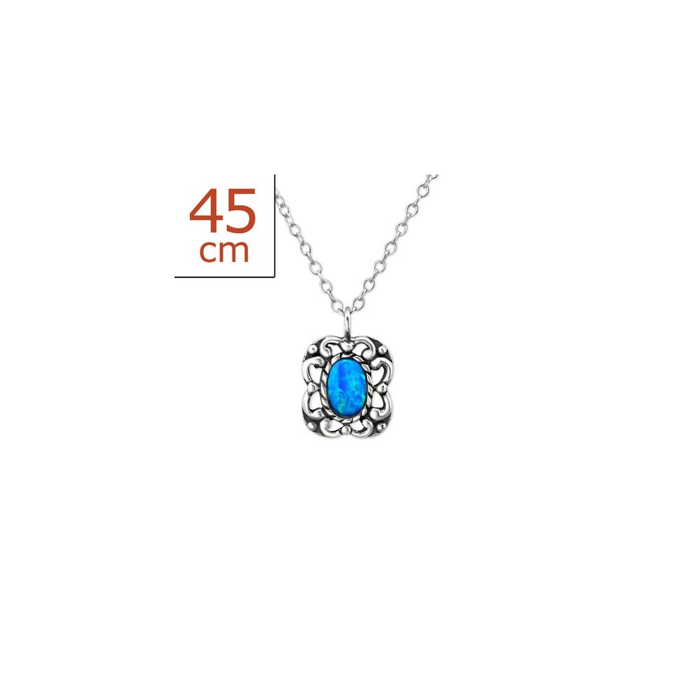 Worldjewelry 925 Sterling Silver Oval Jeweled Necklace