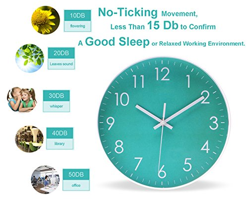 Epy Huts Modern Simple Wall Clock Indoor Non-Ticking Silent Sweep Movement Wall Clock for Office,Bathroom,Livingroom… 4