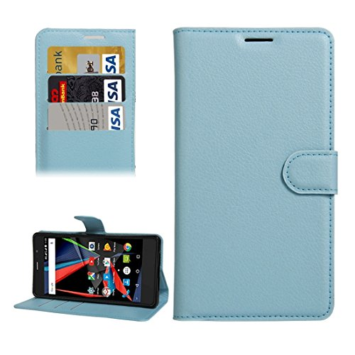 For cellphone Cases, Archos 55 Diamond Selfie Litchi Texture Horizontal Flip PU Leather Case with Holder & Card Slots & Wallet ( Color : Blue )