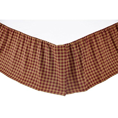 VHC Brands Check 16-inch Drop Bed Skirt Burgundy Queen