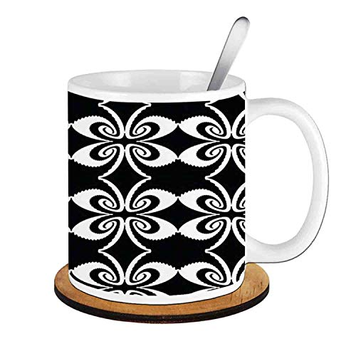 - Psychedelic Torsion with Mirrored Pairs Op Art Symmetric,Black and White;Ceramic Cup with Spoon & Round wooden coaster Milk Coffee Tea Mug 11oz gifts for family