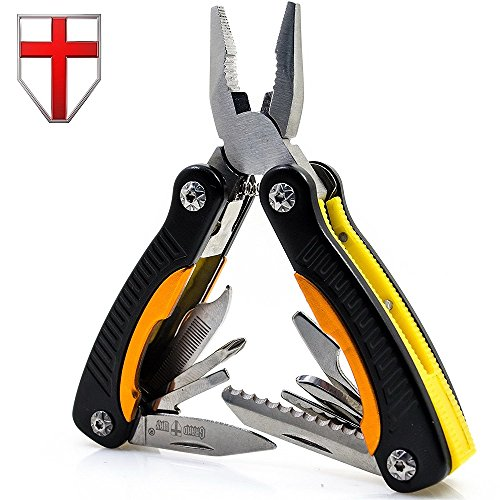 Mini Utility Multitool with Knife and Pliers - Best Small Multi Purpose Tool with All in One Tool Set - Everyday Universal Knife for Camping, Survival and Outdoor Activities - Grand Way 2229
