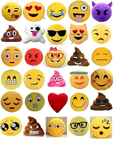Set of 4 Emoji Pillows 12 Inch Large Yellow Smiley Emoticon by Unknown