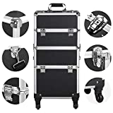Yaheetech 3 in 1 Cosmetic Rolling Makeup Train Case