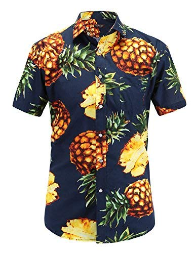 (JEETOO Men's Casual Pineapple Short Sleeve Button Down Hawaiian Aloha)