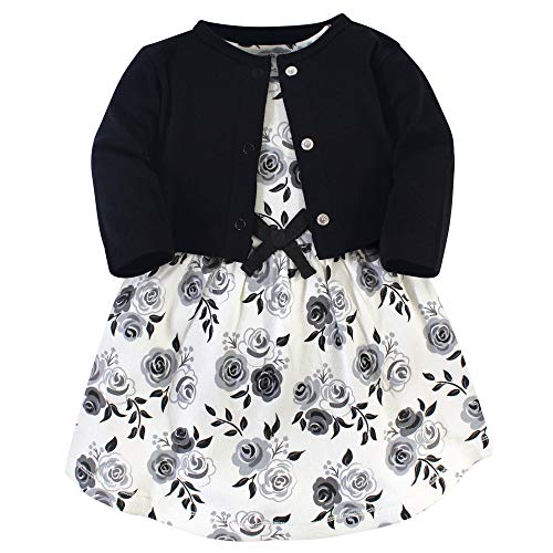Touched by Nature Girl Organic Cotton Cardigan and Dress, Black Floral 2-Piece, 2 Toddler (2T) (2t3 Piece)