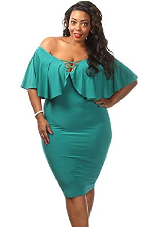 Plus Size Green Ruffle Lace Up Midi Dress Prom Dress Evening Party Wear Size UK 16