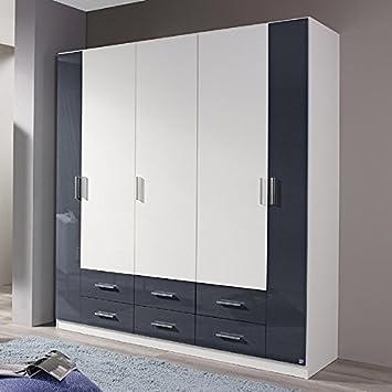 Kleiderschrank hochglanz weiß / grau Hochglanz B 181 cm Schrank ...