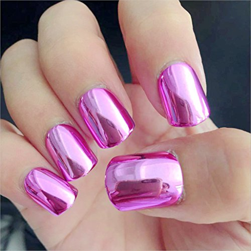 Shiny Punk Style Metallic Light Purple False Fake Nails Metal Plating Acrylic Short Reflective Mirror 08