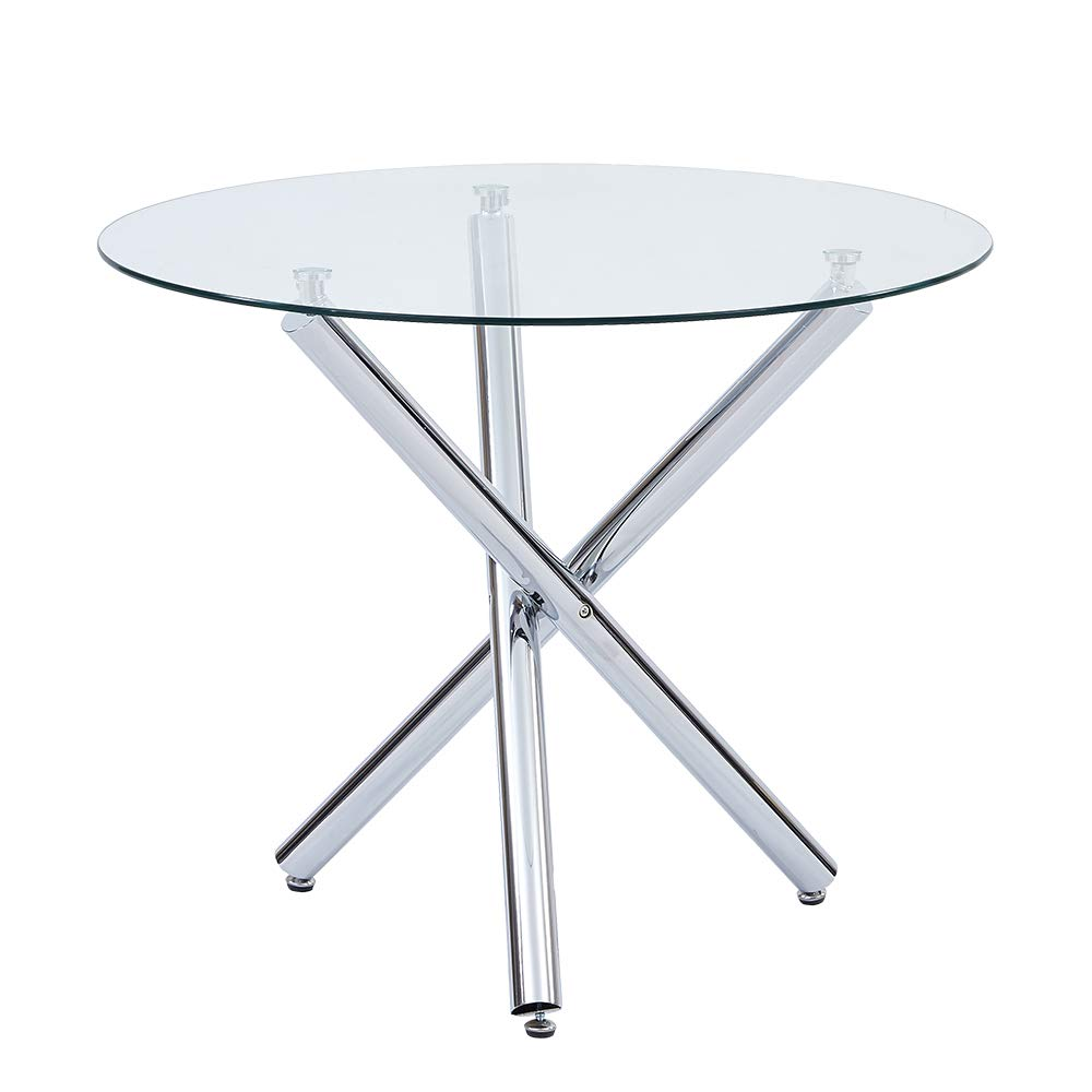 SICOTAS 35.4'' Round Dining Table, Clear Safety Tempered Glass Top Stable Chrome Cross Legs , Small Kitchen Table for 2 or 4 Person (Table Only) by SICOTAS