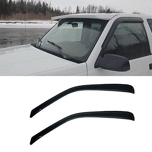 VioletLisa 2pcs Front Door Dark Smoke Outside Mount Style Sun Rain Guard Vent Shade Window Visors for 96-14 Chevy Express/GMC Savana 1500/2500/3500 Van / 03-09 Kodiak/Topkick C4500/C5500 (Front Express Chevy 02 96)