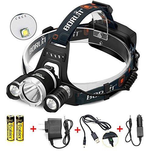 Boruit LED Headlamp Original Cree XML L2 8000 Lumens Waterproof Headlight with Rechargeable 18650 Batteries Bright Adjustable Hands-Free Flashlight for Camping Running Hunting Reading (RJ5000)