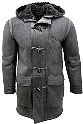 Infinity Men's Black Sheepskin Leather Hooded Duffle Coat