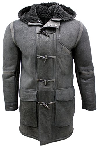 Shearling Toggle Jacket (Men's Black Sheepskin Leather Hooded Duffle Coat L)