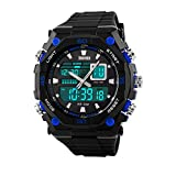 Men's Quartz Digital Sports Watches Skmei LED Military Waterproof Wristwatches-Blue