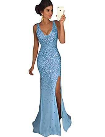 DESHE Women Crystal Beaded Prom Dresses Long Princess Side Slit Mermaid Evening Dresses Long Elegant Dresses