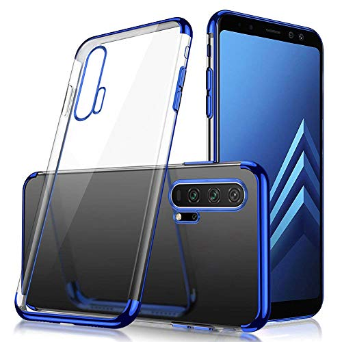 Price comparison product image MoreChioce Compatible with Huawei Honor 20 Pro Transparent Case, Ultra-Thin [Electroplating Edge] Design Anti-Scratch Transparent Protection Soft Silicone Bumper Case,  Blue