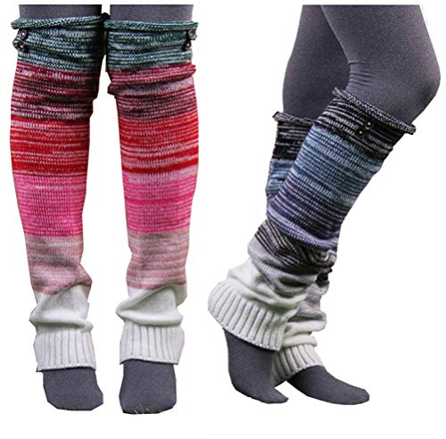 VIGVOG High Knee Legging Boot Socks Long Knitted Snowflake Deer Knitted Warm Long Leg Warmers (Black&Green) One Size
