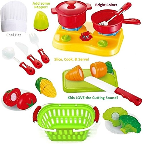 FUNERICA Cutting Play Fruit Toys Set - Includes Toy Vegetables Play Food set for kids with Knife - Mini Kitchen Kids Dishes- Toy Grocery Basket & Child Chef Hat to pretend play cooking the cut fruit