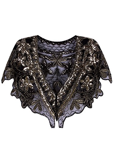 Vijiv Women's 1920s Shawl Deco Sequin Beaded Evening Cape Bolero Flapper Cover Up For Wedding Black (1950s Jacket Womens)